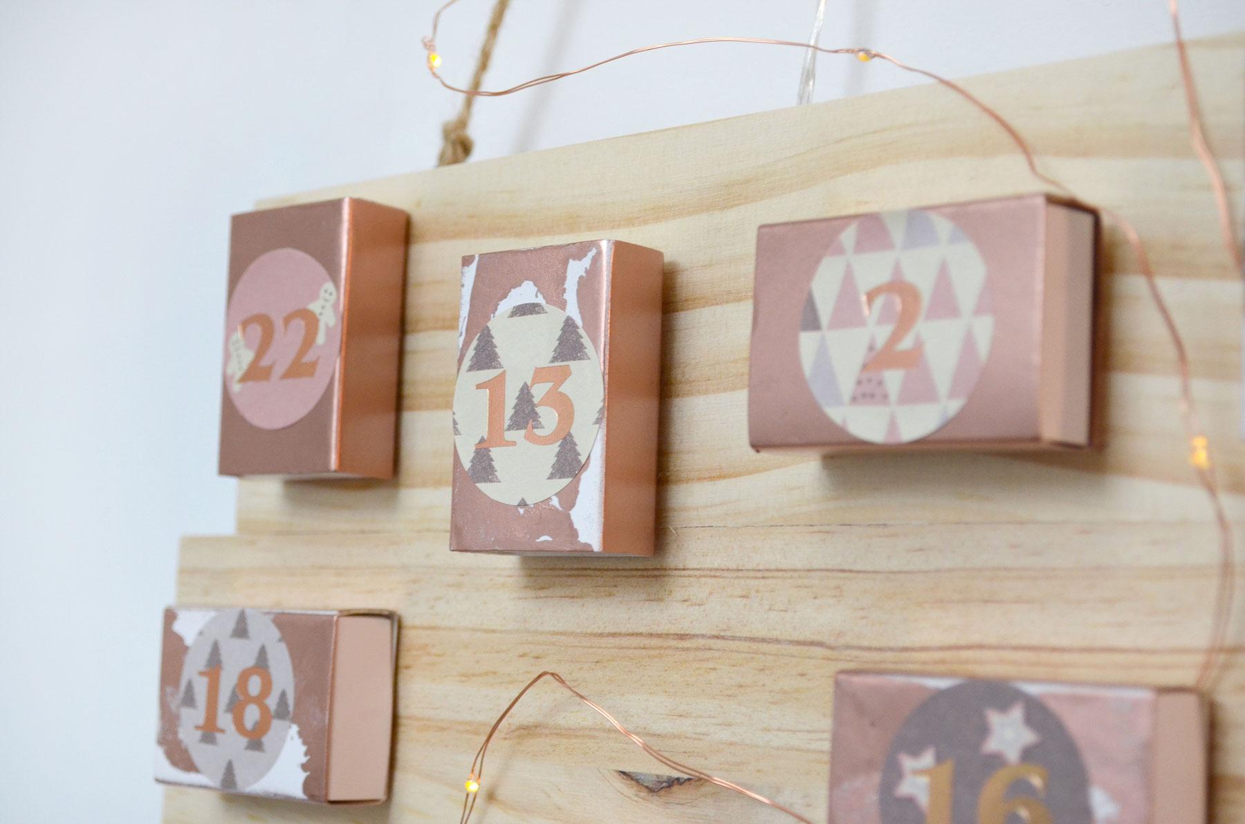 calendriers de l 39 avent 2017 diy rose gold marmille. Black Bedroom Furniture Sets. Home Design Ideas